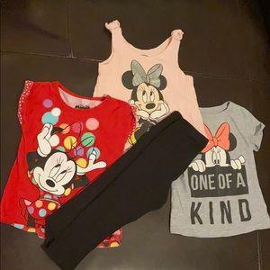 Disney Minnie Mouse 3T Tops & Black Leggings